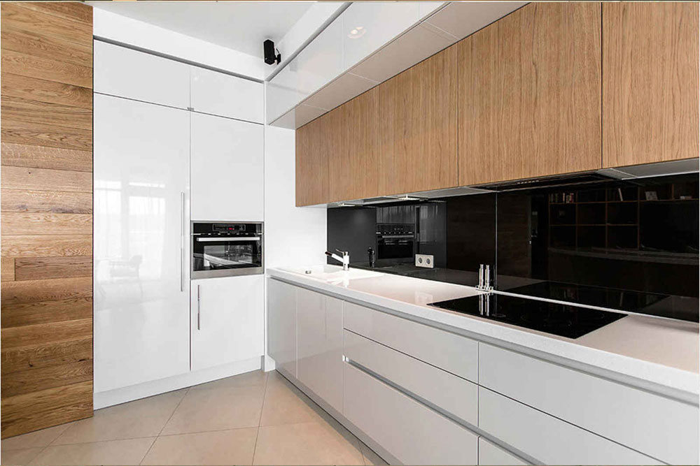 Бело-деревянная кухня дизайн
