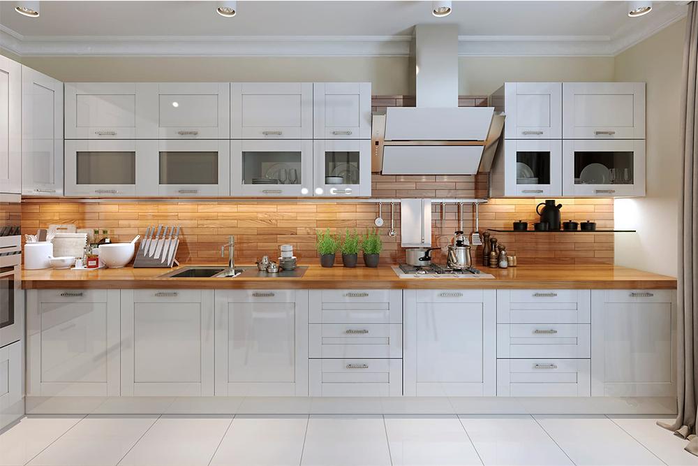 большая красивая белая кухня элит премиум