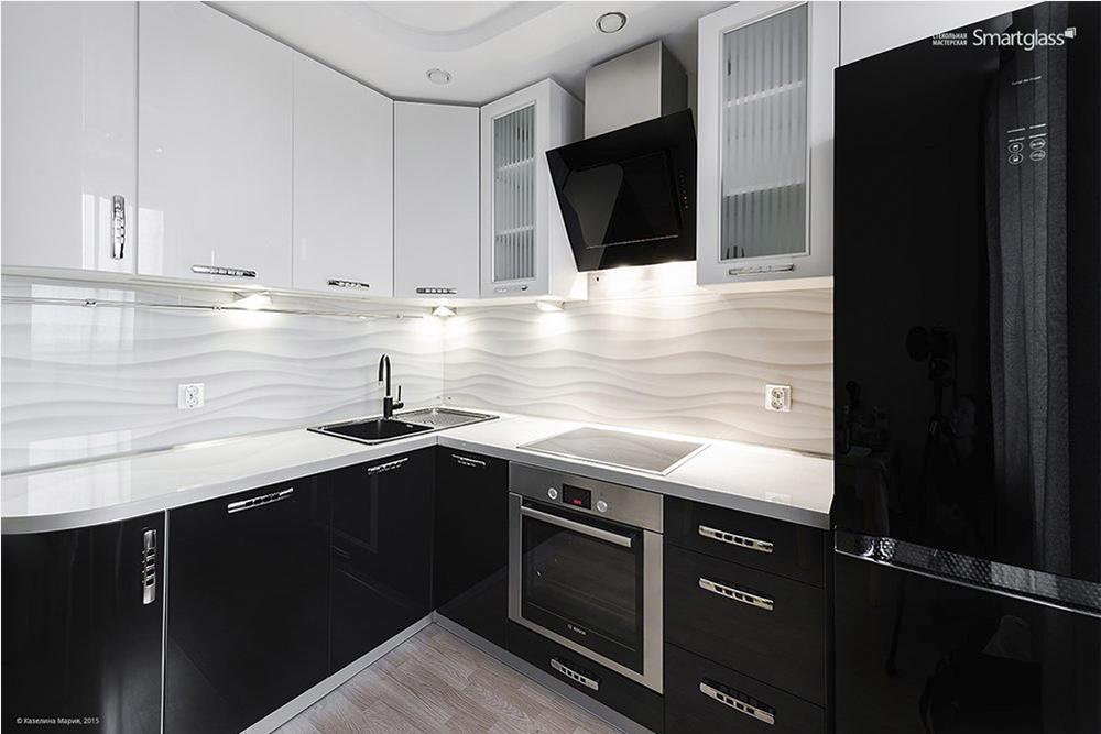 кухни мдф черно белые, 4, Черно-белая кухня Черно-белая кухня