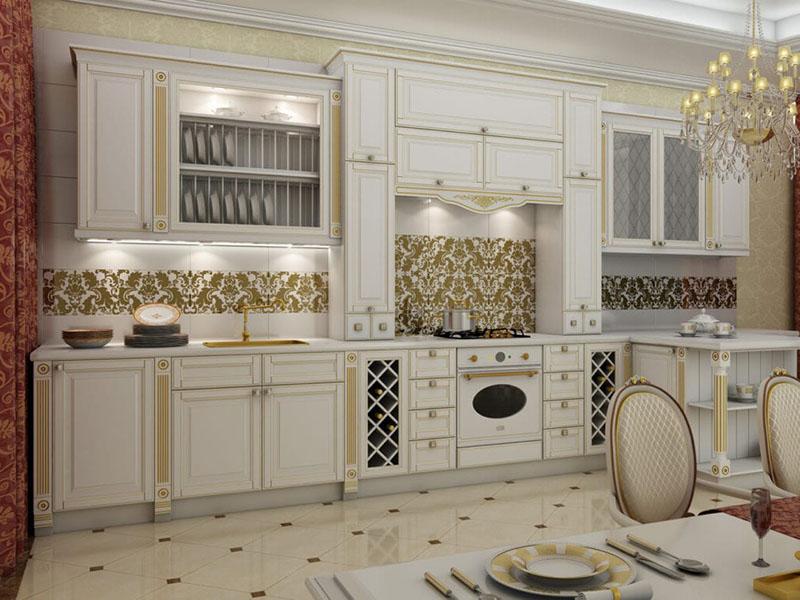 Кухня классика белая с патиной на заказ