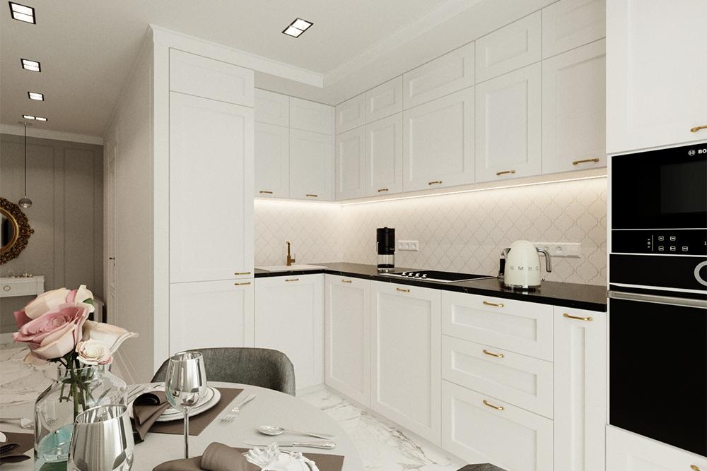 элитный дизайн белой кухни-с-золотыми-ручками с черной столешницей