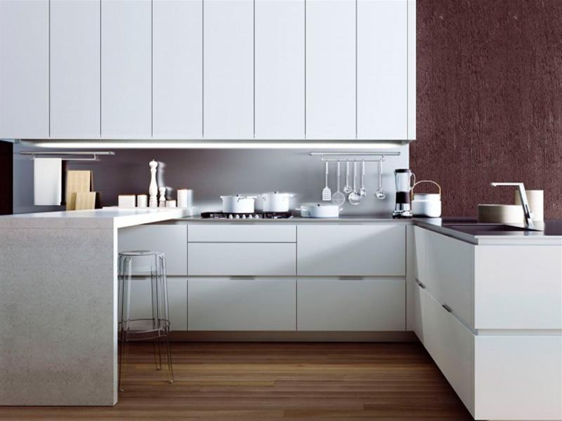 белая кухня без ручек фото
