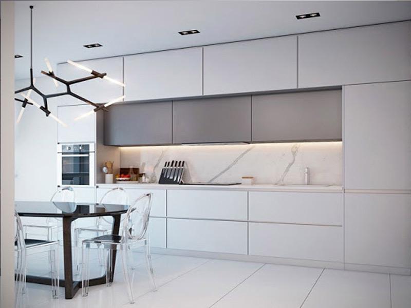 белая кухня без ручек прямая