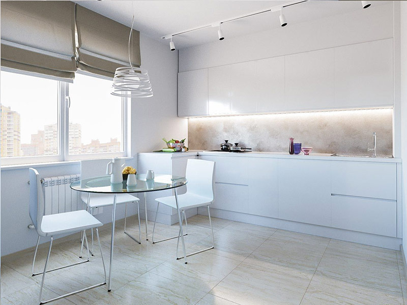 белая кухня минимализм фото
