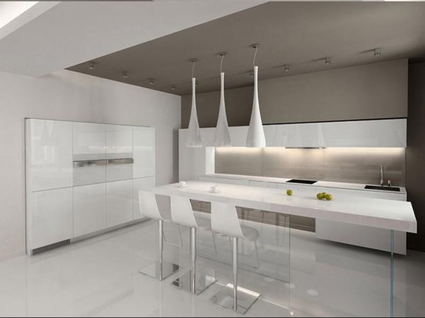 белая кухня минимализм в интерьере