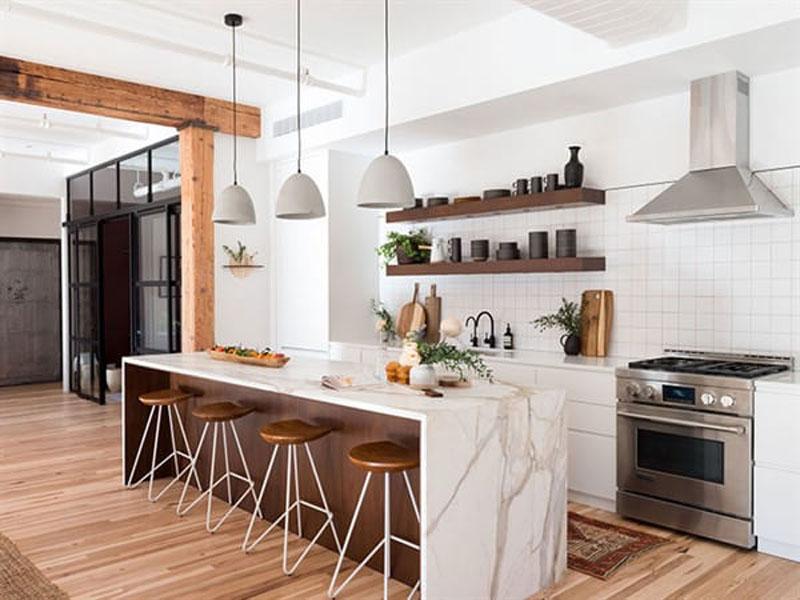 Белая кухня лофт в интерьере