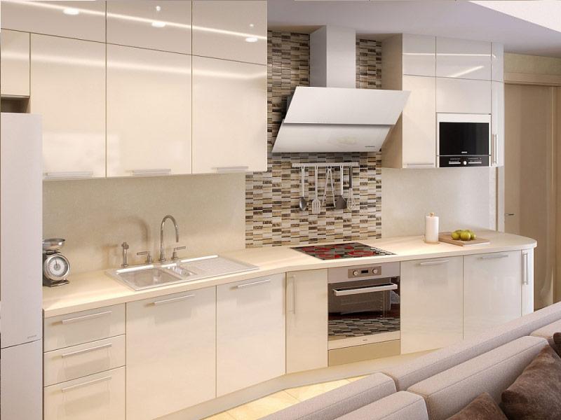 белый кухонный гарнитур в стиле модерн