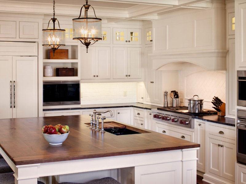 цена белого кухонного гарнитура с деревянной столешницей