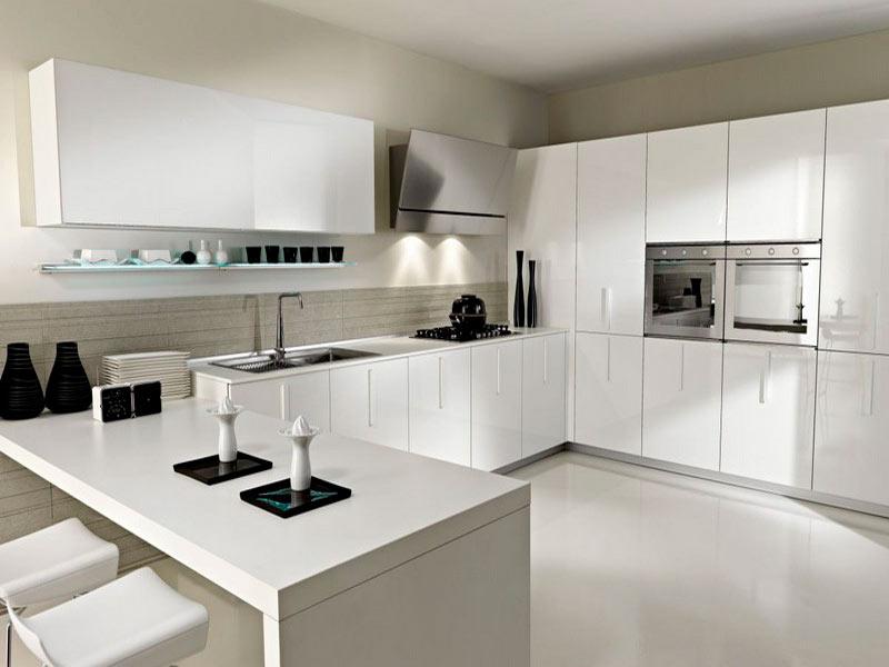 дизайн белой кухни минимализм