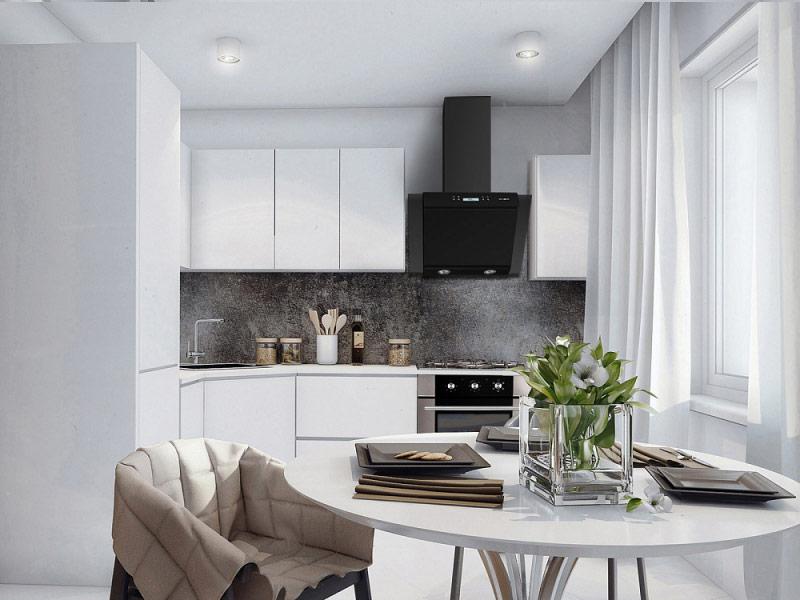 дизайн белой кухни модерн