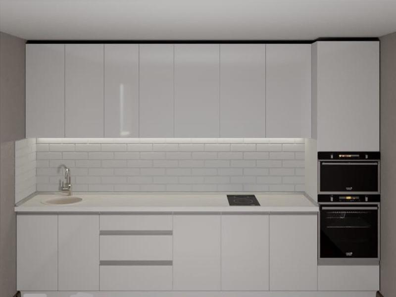 дизайн белой матовой кухни