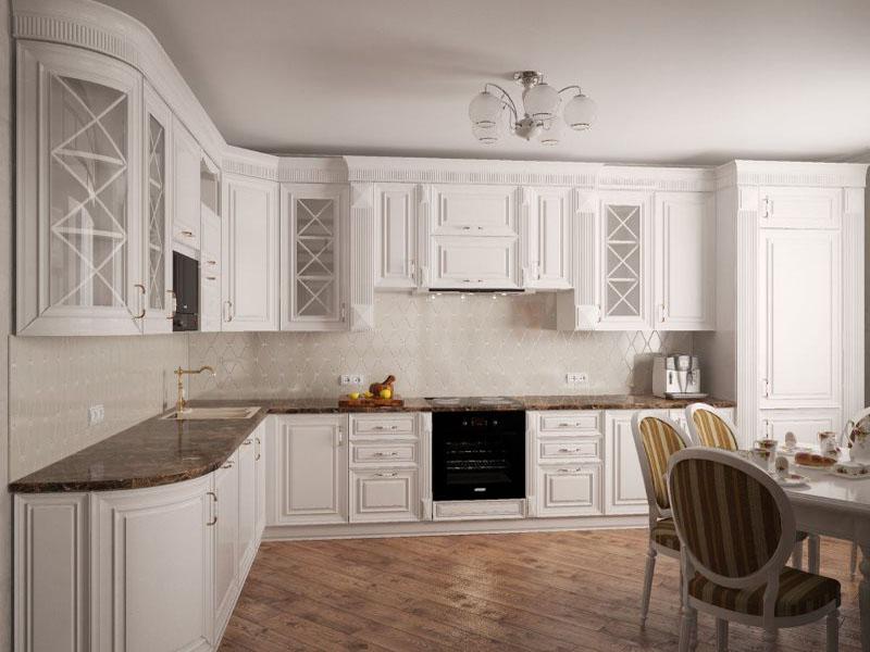 Дизайн белой кухни неоклассика