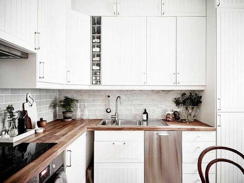 Дизайн белых кухонь в скандинавском стиле