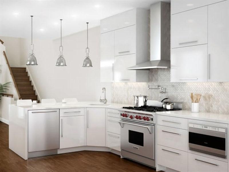 Дизайн лофт-кухни белого цвета