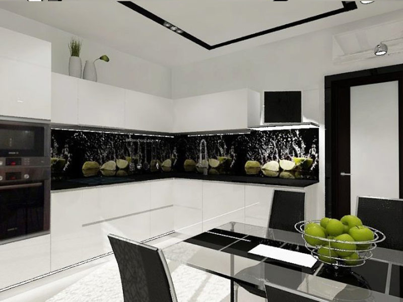 кухня белая с черным фартуком