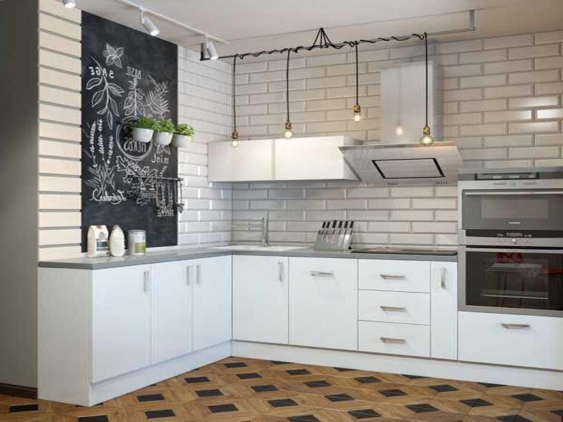 Кухня белая стиль лофт на заказ