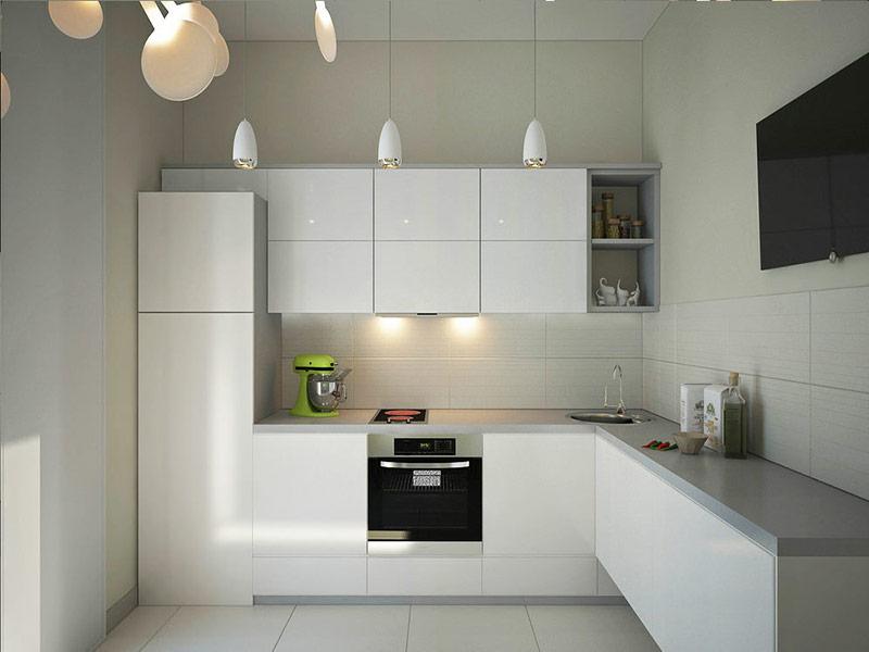 кухня белого цвета минимализм