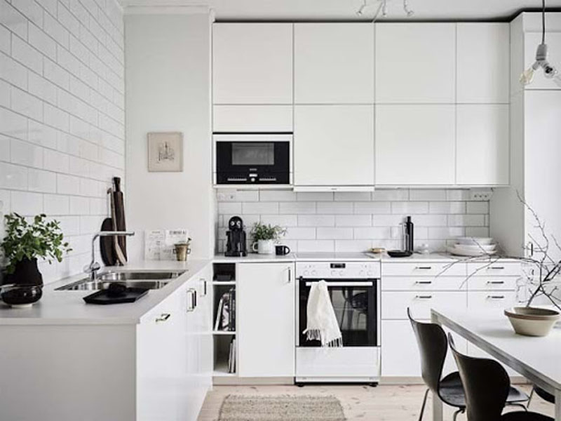 Кухня белого цвета скандинавская
