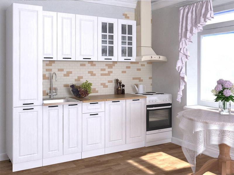белая кухня с черными ручками в интерьере
