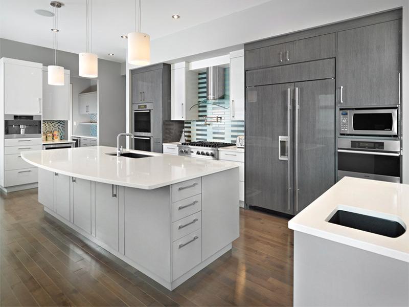кухня серо белая дизайн