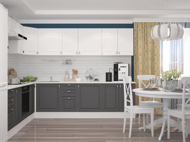 кухня сочетание серого и белого