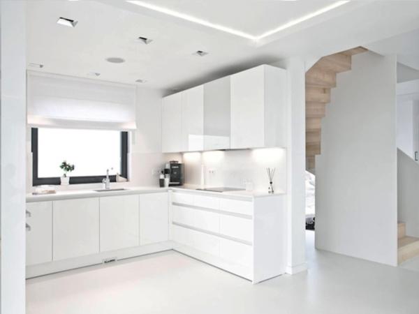 кухня в белой гамме минимализм