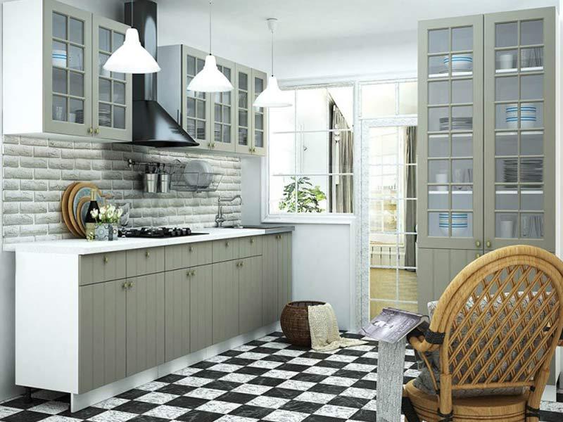 кухня в серо белых тонах