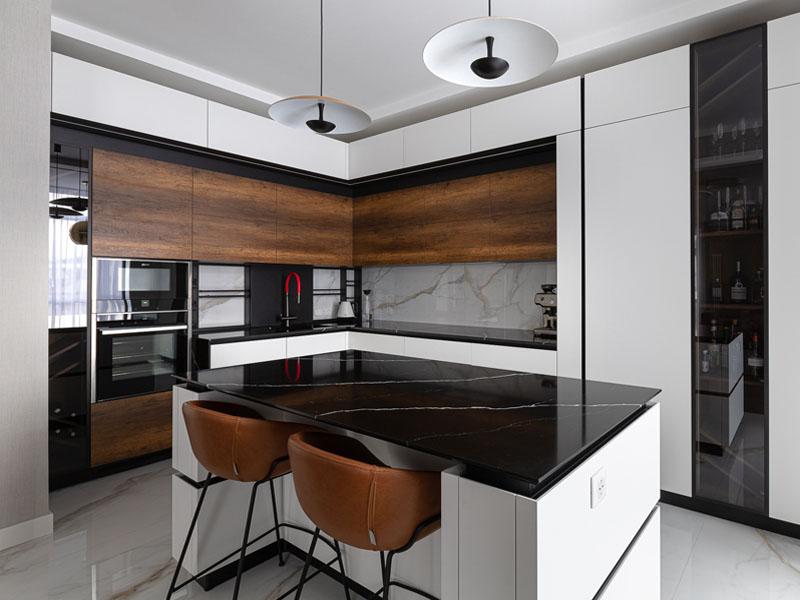 кухонный остров в угловой кухне