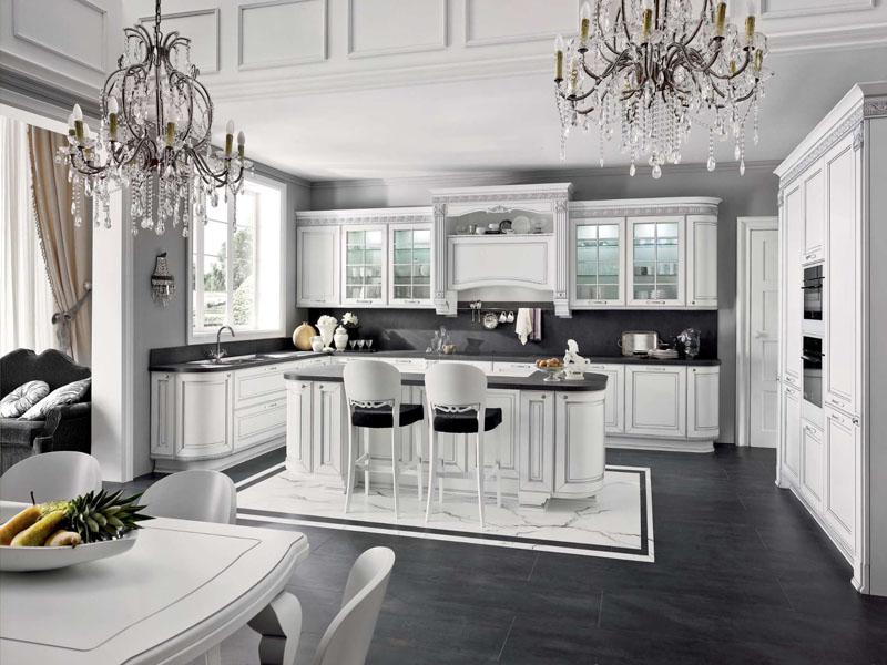 Неоклассика белая кухня с островом